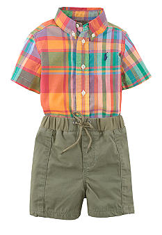 Ralph Lauren Childrenswear Classic Oxford Shirt with Preppy Madras Short Set