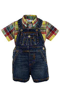 Ralph Lauren Childrenswear Madras Shirt and Denim Shortall Set