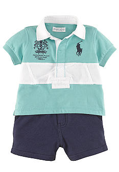 Ralph Lauren Childrenswear Sporty Stripe Rugby and Short Set