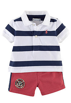 Ralph Lauren Childrenswear Striped Polo and Mesh Short Set