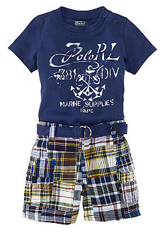 Ralph Lauren Childrenswear Graphic Tee and Plaid Cargo Short Set