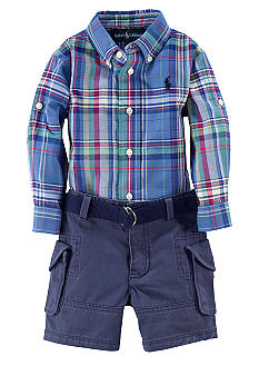 Ralph Lauren Childrenswear Plaid Oxford Shirt and Cargo Short Set