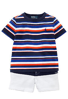Ralph Lauren Childrenswear Sporty Striped Tee and Short Set