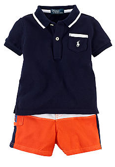 Ralph Lauren Childrenswear Colorblocked Polo and Short Set
