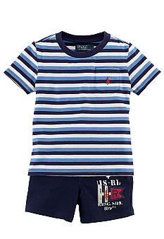 Ralph Lauren Childrenswear Striped Tee and Patch Pocket Short Set