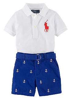 Ralph Lauren Childrenswear Anchor Embroidered Polo and Short Set