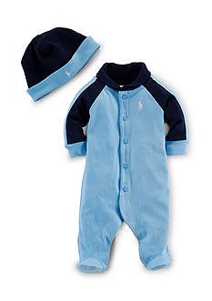 Ralph Lauren Childrenswear 2-Piece Coverall and Hat Set