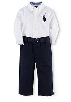 Ralph Lauren Childrenswear Big Pony Oxford & Pant Set