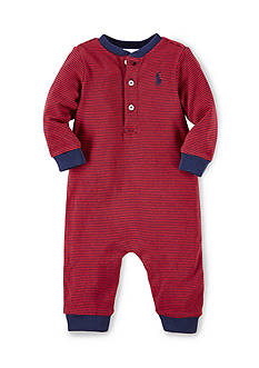 Ralph Lauren Childrenswear Striped Cotton Henley Coverall
