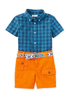 Ralph Lauren Childrenswear 3-Piece Plaid Shirt, Short, and Belt Set