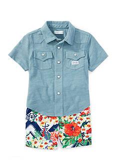Ralph Lauren Childrenswear 2-Piece Work Shirt and Graphic Short Set
