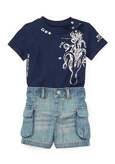Ralph Lauren Childrenswear Jersey and Denim Short Set Baby/Infant Boy
