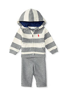 Ralph Lauren Childrenswear 2-Piece Embroidered Hoodie and Jogger Pants Set Baby/Infant Boy