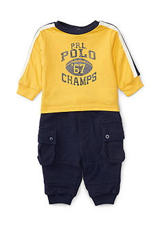 Ralph Lauren Childrenswear 2-Piece Jersey Graphic Tee and Jogger Pants Set Baby/Infant Boy