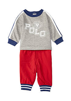Ralph Lauren Childrenswear 2-Piece Graphic Printed Tee and Jogger Pants Set Baby/Infant Boy