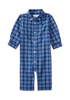 Ralph Lauren Childrenswear Poplin Plaid One Piece Coverall Baby Boy