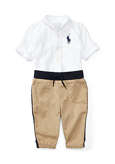 Ralph Lauren Childrenswear 2-Piece Button-Down Shirt and Jogger Pants Set Baby/Infant Boy