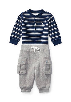 Ralph Lauren Childrenswear 2-Piece Jersey Henley and Fleece Cargo Pants Set Baby/Infant Boy