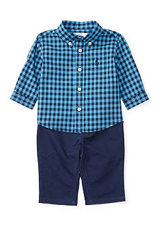 Ralph Lauren Childrenswear 3-Piece Checkered Button Down Shirt, Cotton Twill Pants, and Belt Set Baby/Infant Boy