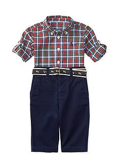 Ralph Lauren Childrenswear Chino Poplin Plaid Pant Set Baby/Infant Boy