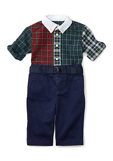 Ralph Lauren Childrenswear Gingham Shirt & Pant Set Baby/Infant Boys