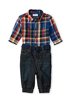 Ralph Lauren Childrenswear Workshirt & Denim Jogger Set Baby/Infant Boy