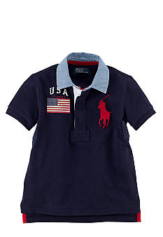 Ralph Lauren Childrenswear USA Contrast Collar Rugby Toddler Boys