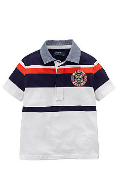 Ralph Lauren Childrenswear Coastal Patch Stripe Polo Toddler Boys