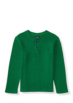 Ralph Lauren Childrenswear Waffle Knit Cotton Henley Top Toddler Boys