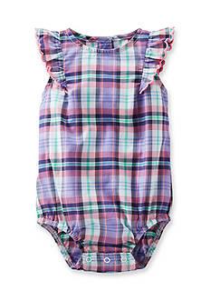 OshKosh B'gosh Flutter-sleeve Plaid Poplin Bodysuit