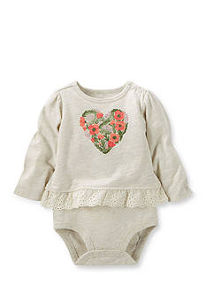 OshKosh B'gosh Flower Heart Ruffle-Hem Bodysuit