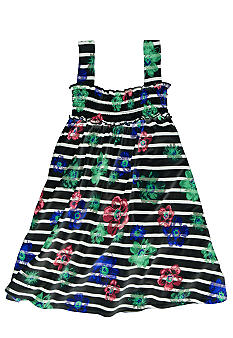 OshKosh B'gosh Floral Navy and White Tank Dress Toddler Girl