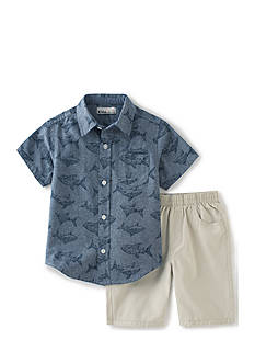 Kids Headquarters 2-Piece Button Front Shark Shirt and Shorts Set