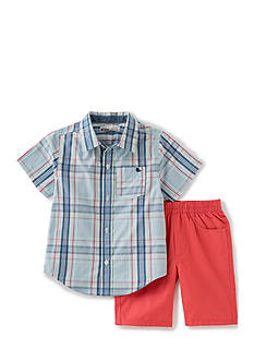 Kids Headquarters 2-Piece Plaid Shirt and Twill Short Set