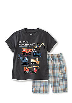 Kids Headquarters 2-Piece Truck Tee and Plaid Shorts Set