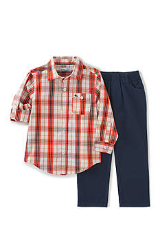 Kids Headquarters 2-Piece Plaid Shirt and Pant Set Toddler Boys