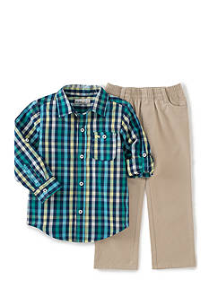 Kids Headquarters 2-Piece Plaid Shirt and Solid Pants Set