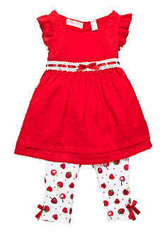 Kids Headquarters Red Swiss Dot Top And Cherry Print Capri Legging Set