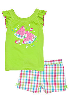 Kids Headquarters Watermelon Plaid Short Set Toddler Girls