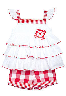 Kids Headquarters Swiss Dot Gingham Short Set Toddler Girls