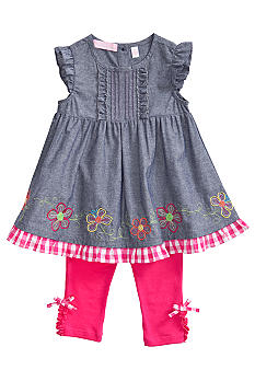 Kids Headquarters Chambray Flower Set Toddler Girls