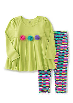 Kids Headquarters 2-Piece Flower Tunic and Striped Pants Set