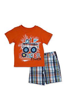 Nannette 2-Piece Monster Truck Tee Shirt and Plaid Short Set
