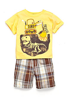 Nannette 2-Piece Fossil Digger Tee and Plaid Shorts Set