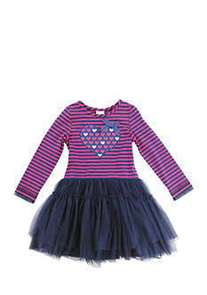 Nannette Long Sleeve Heart Stripe to Mesh Dress Toddler Girls