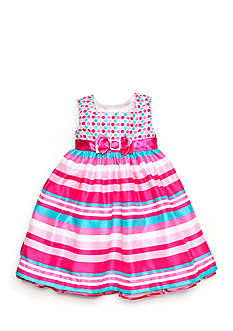 Nannette Polka Dot to Stripe Shantung Dress Toddler Girls