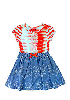 Nannette Stripe To Chambray Eyelet Dress Toddler Girls