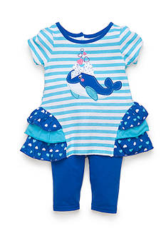 Nannette 2-Piece Whale Top and Capri Legging Set