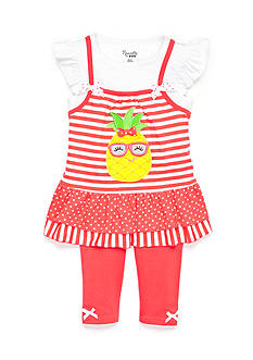 Nannette 2-Piece Pineapple Striped Tunic and Capri Set Toddler Girls