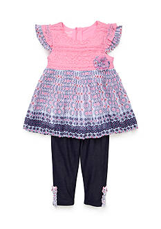Nannette 2-Piece Lace Print Dress and Leggings Set Toddler Girls